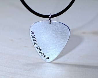 Aluminum Wanna Pluck Guitar Pick Necklace - NL721