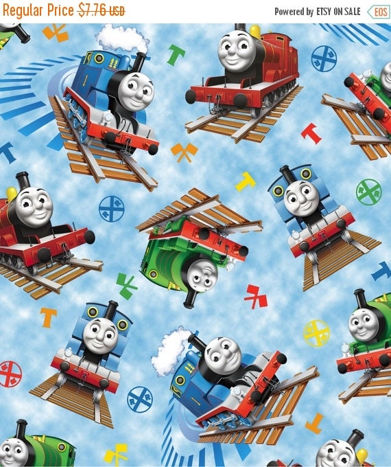 Fun thomas trains on rails fabric 40 70 off patterns n books for Fabric with trains pattern