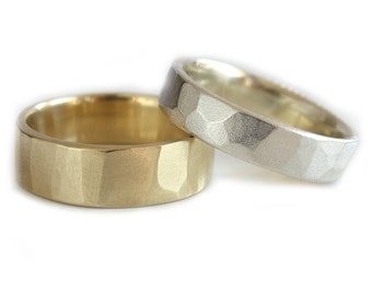 His and Hers Wedding Band 14K White Yellow Gold Rings Modern wedding Rings Eco Friendly