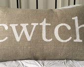 Welsh cwtch cuddle LINEN pillow cushion cover - Etsy Front Page item.