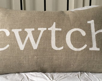 Welsh cwtch cuddle LINEN pillow cushion cover