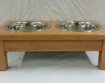 Pet Feeder Small Cherry Elevated Dog Feeder with 1 Qt. Bowls