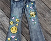 Fave Emoji Hand-Painted Jeans Made to Order in Girls/Teen sizes