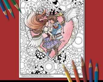 Coloring Page, Steampunk, Angels, Valentines Day, Adult Coloring Pages, Printable Coloring Pages