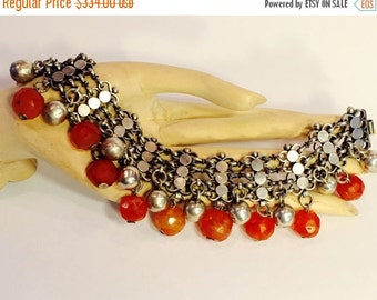 Scorpio Birthday SALE Beautiful Ild Chinese Tribal Sterling Silver Carved Carnelian Ball Vintage Bracelet