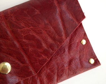 Bold Red distressed leather clutch