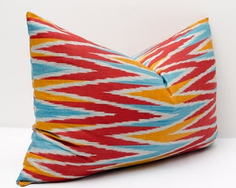 20x14 ikat pillow cover, lumbar, red, yellow, blue, ikat, cushion cover, cushion case, ikats, zig zag, chevron, wave,