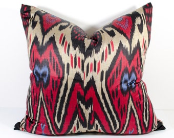 red ikat pillow cover, 24x24 inches or 60x60 cm. ikat pillow, red ikat, red pillow, ikat pillow cover, pillow sham