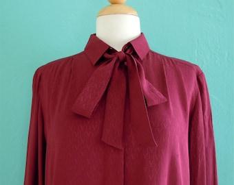 80's valentino silk bordeux logo tie top ~ small medium