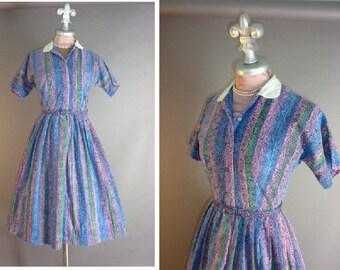 50s dress 1950s vintage BAROQUE STRIPE PRINT blue purple green pink full skirt shirtwaist dress