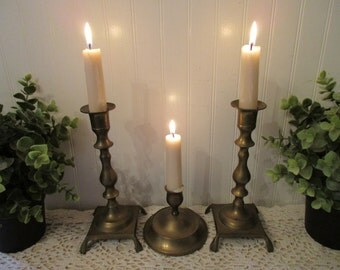 3 vintage Brass Candle Holders. Instant collection Boho lot. Eclectic, tarnished distressed lot. Shabby urban romantic cottage decor