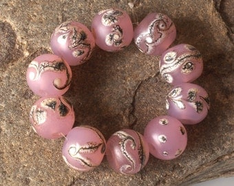 Round Pink Lampwork Glass Beads, Rose Lampwork Bead Set (10)