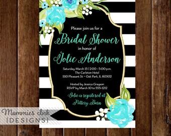 Black and White Stripes Invitation, Bridal Shower Invitation, Shower Invitation, Watercolor Invitation, Turquoise Flower Invite