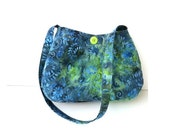 Blue Tie Dye Shoulder Bag handmade with vegan cotton fabric       small blue lime green cute button purse  caroljoyfashions77