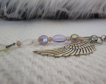 Angels Wing Zipper Charm/ Teardrop bead /AB crystal bead heart /reminder of loved one gift/ cancer survivor gift, RTS Item # CJF22-1037