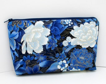 Zippered Make Up Bag, Midnight Flower Garden, Blue Cosmetic Zipper Pouch