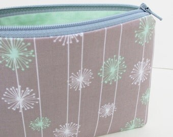 Mint Dandelions in Gray, Small Zipper Pouch, Coin Purse