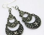 SALE Ornate Antique Silver Dangle Earrings - Flower and Crystal Earrings - Silver Earrings - Dangle Earrings - Metal Earring - Fashion Jewel