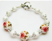 SALE White Garden Lily Bracelet - Floral Bracelet - White Bracelet - Reversible Bracelet - Multi Color Bracelet - Womens Bracelet - Gift Ide