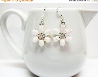 CIJ SALE White Snowflake Earrings - Pink and White Snowflake Earrings - Small Snowflake Earrings - Holiday Earrings - Christmas Jewelry - Gi
