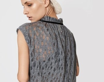 gray blouse - sleeveless top - sheer sleeveless blouse - loose shirt - cotton blouse - loose top - sexy tops - cotton tops - NRIBBON