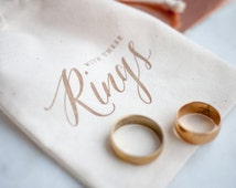 Rustc Gold Calligraphy Wedding Ring Bag, ring pillow alternative for Autumn Wedding