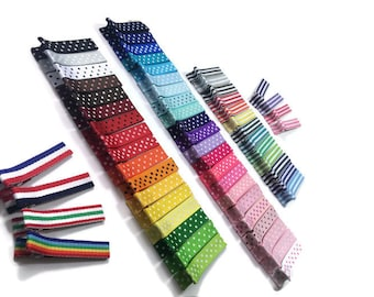 """25 Dots -n- Stripes - Lined - 1.75"""" (45mm) Alligator Clips - Fully or Partially Lined - No- Slip - Ribbon Lined Alligator Clips"""