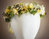 Floral Halo Made to match Well Dressed Wolf Southern Charm Lemon Meringue or Naomi...yellow and cream flowers with greenery