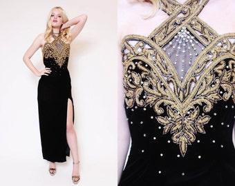 Vtg 80s Sleek Baroque Rhinestone Dynasty Chic Velvet Gold Trophy Sequin Halter Prom Slit Evening Gown Dress
