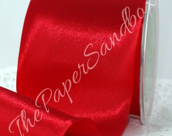 """Red Satin Ribbon, 3"""" wide by the yard, Single Faced Satin, Crafts, Gift Wrapping, Garlands, Wreaths, Christmas Ribbon, Christmas Wedding"""