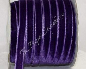 "Purple Velvet Ribbon, 3/8"" wide by the yard, Pantone Radiant Orchid, Weddings, Gift Wrapping, Velvet Trim, Christmas Ribbon, Velvet Chokers"