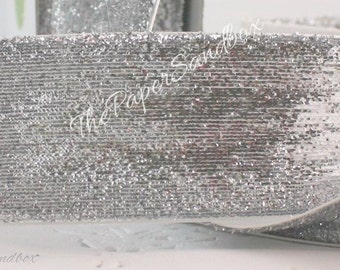 """Silver Glitter Ribbon, 1.5"""" wide by the yard, Silver Glitter Trim, Metallic Trim, Silver Trim, Christmas, Gift Wrapping, Party Supplies"""