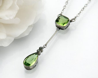Peridot Antique Pendant | Peridot Pear & Seed Pearls Edwardian Lavaliere | August Birthstone Sterling Silver Antique Jewelry - 16 Inch Chain