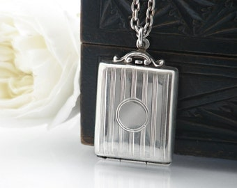 Antique Locket | 1912 Edwardian Stamp Case Locket | English Hallmarked | Pinstriped Sterling Silver Locket Necklace - 24 Inch Sterling Chain