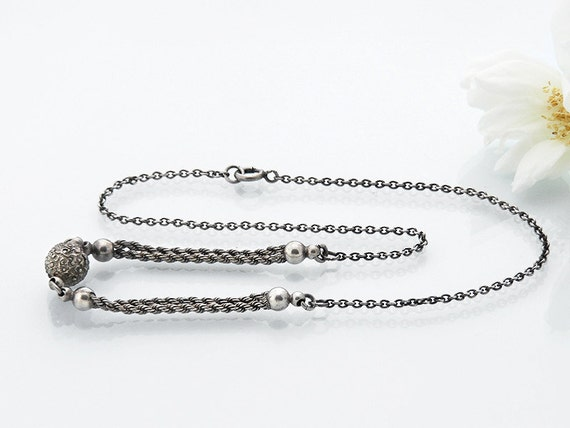 Antique Albertina Chain Necklace | Victorian Chain | Etruscan Sterling Silver Orb, Twisted Rope Chain - 20 Inch Antique Chain Necklace Chain