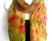 "Hand Dyed Silk Scarf, Abstract, Camouflage, Earth Colors, Olive Green Orange Red Sand Brown, 71"" x 18"" Long 100% Silk Scarf, Gift Under 35"
