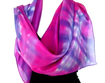 "Hand Painted Silk Scarf, Abstract Checked, Hot Pink Lavender Navy Blue, 35"" Square Silk Scarf, Gift Under 50"