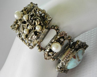 Baroque Heraldry Panel Bracelet with Faux Pearls and Faux Turquoise Cabochons. Gold Tone Repousse Book Chain.