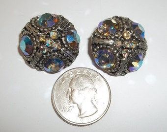 """2 Blue Aurora Borealis Crystal Buttons,Fancy Coat,Matching Set, 1 """" inch ,Great condition,50's ,Dome, Cast Metal Shank,Iridescent Pair"""