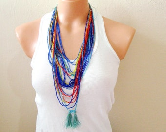 Red and Blue Tassel necklace, Seed beads Layering necklace beaded multistrand necklace