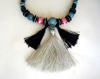 Redesigned Vintage Necklace,  Beaded Tassel Necklace,  Tassel fringe necklace, fringe necklace, statement necklace