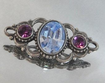 FALL SALE Vintage Bar Brooch Pin Blue Topaz and Purple Amethyst Rhinestones