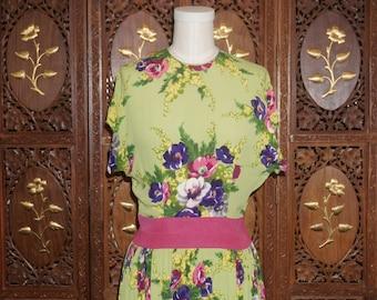 Vintage 1940s CEIL CHAPMAN Floral Silk Garden Party Gown Sz S