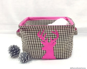 Fuchsia Reindeer Brown Plaids Fabric Basket. Children Storage. Christmas Gift. Cottage Chic. Woodland Deer