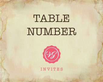 Add On Matching Table Number To Your Invitation Set