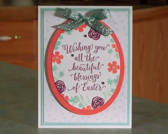 "Stampin Up Blessings of Easter Card - 4 1/4"" x 5 1/2"" - Hand-Stamped Flowers on Die-Cut Oval"