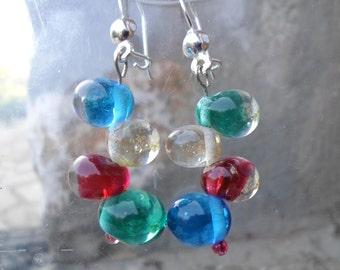 Lampwork Earrings, Handmade Glass Earrings, Rich Multicolor Dangle Drop Earrings, Handmade artisan Jewelry Christmas Gift for Her