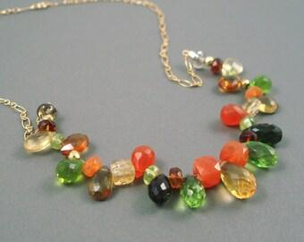 Mixed Gemstone Necklace, Peridot, Garnet, Citrine, Smoky Topaz, Tourmaline, Gold Fill Chain