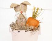 Burlap Bunny, bunny tin, easter bunny, easter decorations, spring decor, spring bunny, stuffed bunny, easter basket, home decor, bunny pot