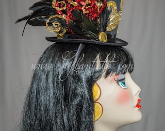 Ready to ship sequined circus Top Hat with Black and gold accents with feathers